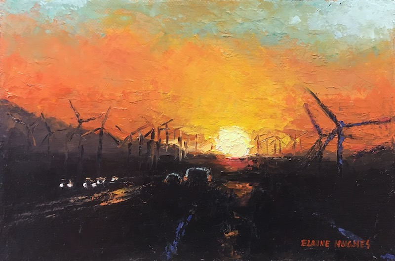 sunset and windmills
